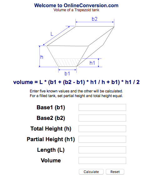 This Calculator Works To Calculate A U201cpartially Filled Tanku201d, So For A  U201cfilled Tanku201d, You Would Set The Partial Height (h1) And Total Height (h)  As The Same ...